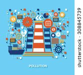 pollution concept design on... | Shutterstock .eps vector #308845739