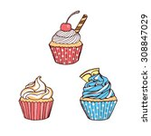 hand drawn cupcakes | Shutterstock .eps vector #308847029