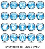 blue glossy web icons with... | Shutterstock .eps vector #30884950