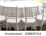 white chairs  white tablecloths ... | Shutterstock . vector #308850761