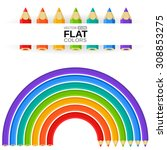 colored pencils shaped as a...   Shutterstock .eps vector #308853275