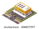 Vector isometric icon or infographic element representing low poly Car Service station building - stock vector