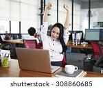 asian businesswoman stretching... | Shutterstock . vector #308860685