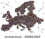 large group of people seen from ... | Shutterstock . vector #308862869