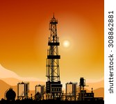 silhouette oil or natural gas... | Shutterstock .eps vector #308862881