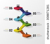 abstract 3d stairs infographics ... | Shutterstock .eps vector #308871281