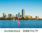Stock photo view of boston skyline in summer afternoon 308874179