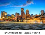Stock photo boston harbor and financial district at twilight massachusetts 308874545