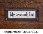 my gratitude list   a label on... | Shutterstock . vector #308878337