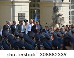Small photo of UKRAINE, LVIV - September 23, 2015: New police swore allegiance to the Ukrainian people. Prime Minister Arseniy Yatsenyuk, the Minister of Internal Affairs Arsen Avakov and other public figures.