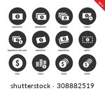 money and cash vector icons set.... | Shutterstock .eps vector #308882519