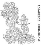 hand drawn henna abstract... | Shutterstock .eps vector #308889971