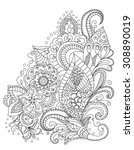 hand drawn henna  abstract... | Shutterstock .eps vector #308890019