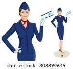 stewardess with ticket. vector... | Shutterstock .eps vector #308890649