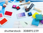 stamp ink pad  lino cutter  ... | Shutterstock . vector #308891159