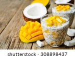 coconut mango chia seed pudding.... | Shutterstock . vector #308898437