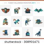 set of vector halloween line... | Shutterstock .eps vector #308901671