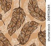 vintage mehndi seamless pattern ... | Shutterstock .eps vector #308903684