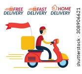delivery boy ride scooter... | Shutterstock .eps vector #308906621