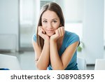 smiling adolescent girl sitting ... | Shutterstock . vector #308908595