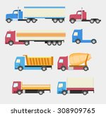 flat set of icons trucks. heavy ... | Shutterstock .eps vector #308909765