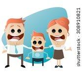 funny cartoon family | Shutterstock .eps vector #308910821