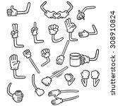 vector set of cartoon arm | Shutterstock .eps vector #308910824