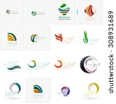 set of abstract wavy elements.... | Shutterstock .eps vector #308931689