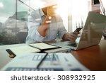 designer hand working and...   Shutterstock . vector #308932925