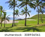 Anakena Beach With Moai Statue...