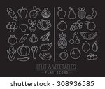 set of flat fruits icons and...