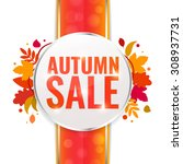 autumn sale tag on ribbon with... | Shutterstock .eps vector #308937731