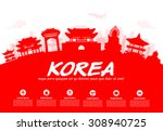 korea travel landmarks. vector... | Shutterstock .eps vector #308940725
