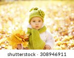 Autumn Baby Portrait In Fall...