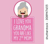 nice card for grandmothers day | Shutterstock .eps vector #308947655
