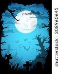 night halloween a4 format ... | Shutterstock .eps vector #308960645