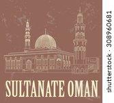 sultanate of oman landmarks.... | Shutterstock .eps vector #308960681