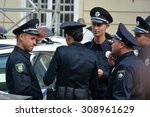 Small photo of UKRAINE, LVIV - September 23, 2015: New police swore allegiance to the Ukrainian people. In Ukraine, the reform of the law enforcement system happened as a result of Revolution of Dignity.