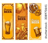 beer banner vertical set with... | Shutterstock .eps vector #308970641