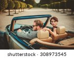 wealthy couple in a classic... | Shutterstock . vector #308973545
