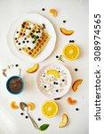 coffee  belgium waffles  corn...   Shutterstock . vector #308974565