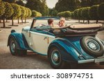 wealthy couple in classic... | Shutterstock . vector #308974751