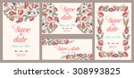 set of  wedding invitations.... | Shutterstock .eps vector #308993825