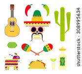 flat mexico traditional objects ... | Shutterstock .eps vector #308995634