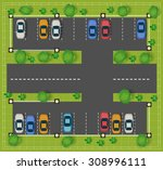 car parking on the road view... | Shutterstock .eps vector #308996111