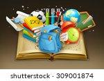 school and book  vector... | Shutterstock .eps vector #309001874