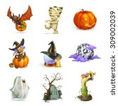 happy halloween set of vector... | Shutterstock .eps vector #309002039