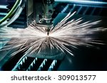 cnc laser cutting of metal ... | Shutterstock . vector #309013577