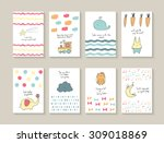 Stock vector cute hand drawn doodle baby shower cards brochures invitations with star whale waves carrot 309018869