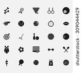 black icons sports equipment on ... | Shutterstock .eps vector #309044429